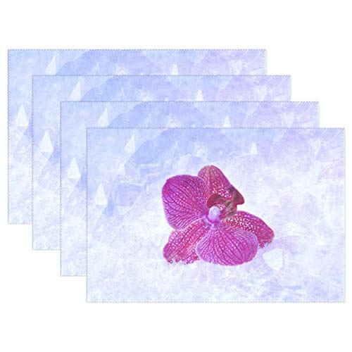 Promini Heat-Resistant Placemats, Orchid Blossom Bloom Flower Violet Snow Washable Polyester Table Mats Non Slip Washable Placemats for Kitchen Dining Room Set of 4