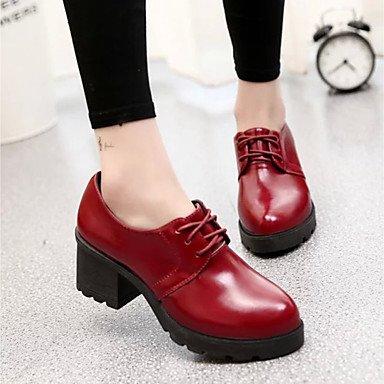 RTRY Zapatos De Mujer Pu Primavera Otoño Botas Botas De Combate Chunky Talón Botines/Botines De Borgoña Casual Gris Negro US7.5 / EU38 / UK5.5 / CN38