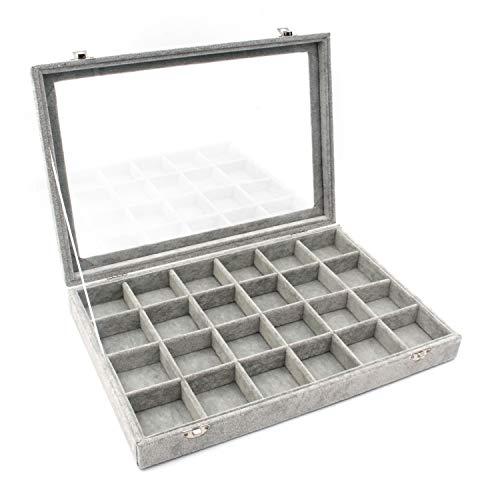 KLOUD City Jewelry Box Organizer Display Storage caseGray-24 Grid