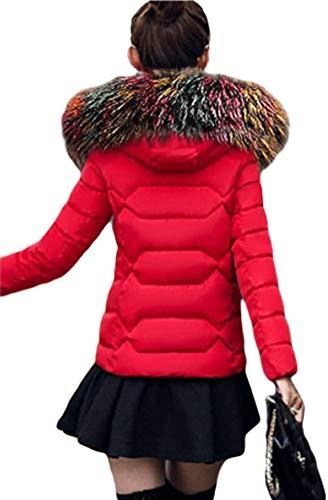 Ghope Fourrure Veste Col Court Dames De F Grand Rouge Epais Femme Doudoune En Mince Coton Manteau Hiver Fausse r6gFcWrpf