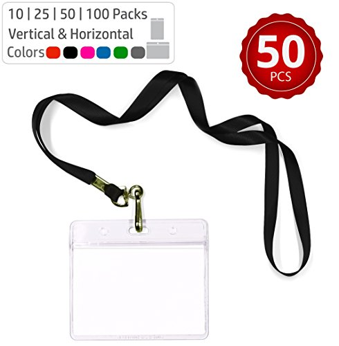 Durably Woven Lanyards & Horizontal ID Badge Holders ~Premium Quality, Waterproof & Dustproof ~ For Moms, Teachers, Tours, Events, Businesses, Cruises & More (50 Pack, Black) by Stationery King