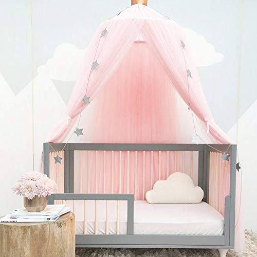 Awhao Multipurpose Mosquito Bed Nets with Round Lace Children Dome Fantasy Champion Netting Curtains Play Tent Bed Canopy (Pink)