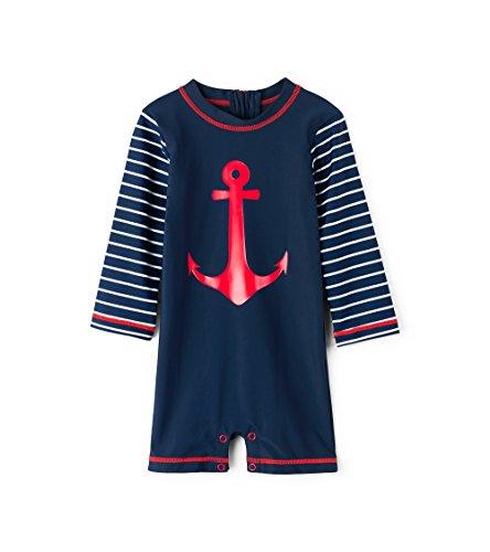 Hatley Baby Boys Mini One Piece Rash Guard, Sea Anchors, 6-9 (Guard Snap)