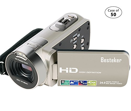 Case of 50, Besteker Camera Camcorder HD 1080P 24MP 16X Digi