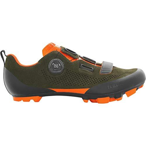 Fizik X5 Terra Suede Cycling Shoe - Men's Suede Military Green/Orange, 46.0