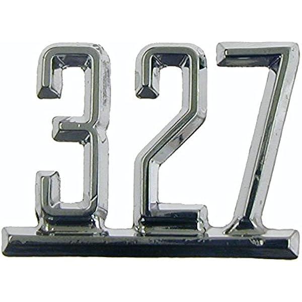 Black//Chrome 327 Cu Number Logo Engine Badge Emblem Decal Plate 3M Sticker