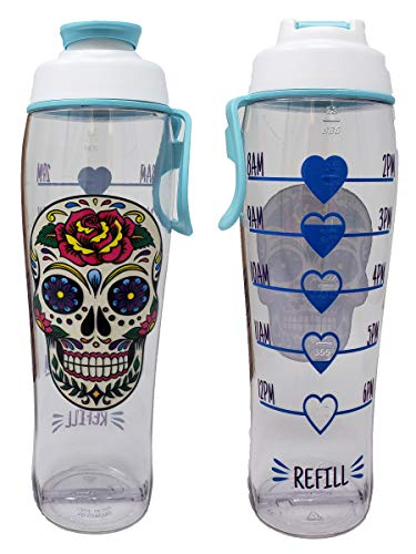 BPA Free Reusable Water Bottle with Time Marker - Motivational Fitness Bottles - Hours Marked - Drink More Water Daily - Tracker Helps You Drink Water All Day -Made in USA (Sugar Skull, 30 oz.)