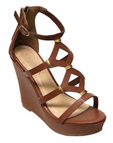Anna Toben-50 Womens platform wedge geometric cut out golden decor zip closure sandals Cognac JLwG0