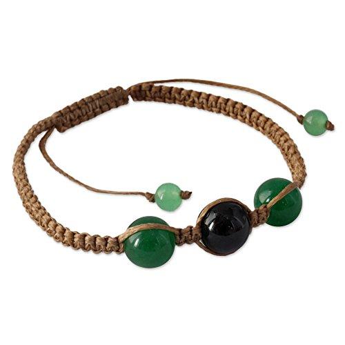 NOVICA Dyed Black and Green Onyx Macrame Shambhala Style Bracelet, Adjustable, 'Protective Tranquility'