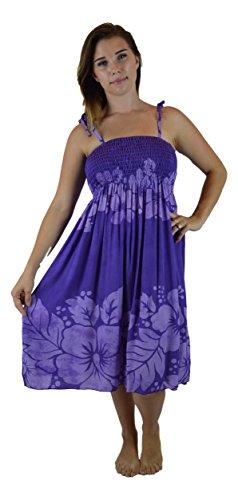 Island Style Elastic Dress - Hibiscus (Purple)