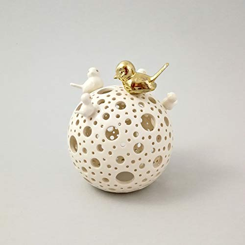 Ceramic Lantern Thinking of You Gift or Mental Health Gift - Tealight Lantern with Birds