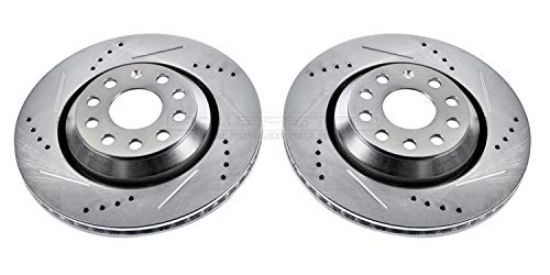 Power Stop EBR1070XPR Rear Evolution Drilled & Slotted Rotor Pair