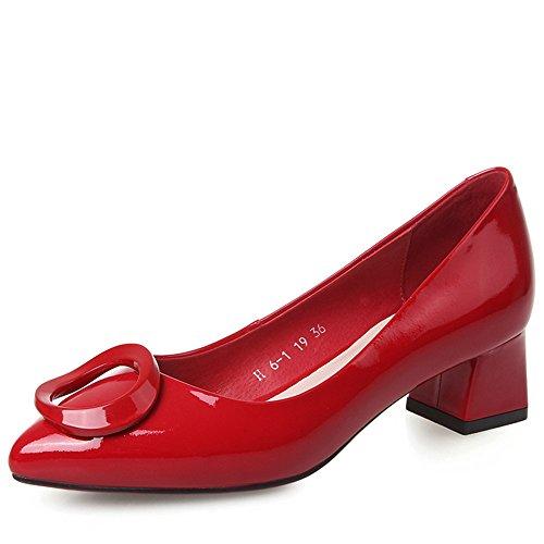 Nine Seven Cuero Moda Puntiagudos Zapatos de Tacón Grueso de Trabajo para Mujer Rojo