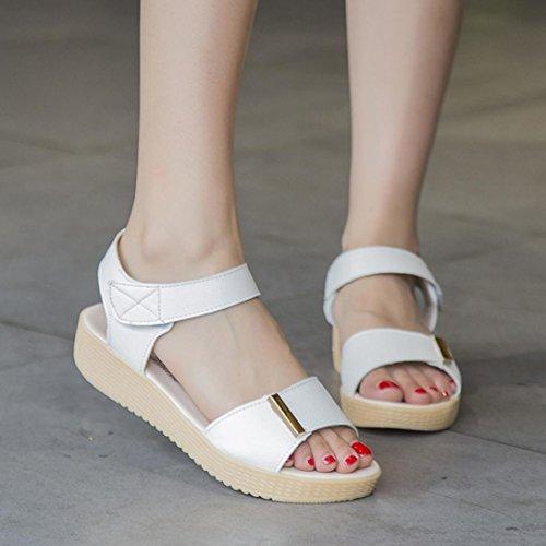 Plataformas mujer Zapatos, Culater Sandalias playa sandalias dulces del verano Blanco