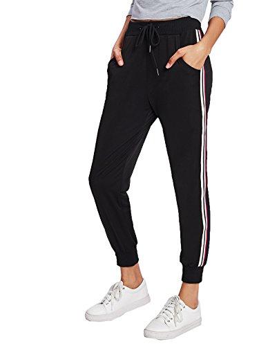 bc7db06866b SweatyRocks Women's Drawstring Waist Striped Side Jogger Sweatpants With  Pockets (Large, Black#8