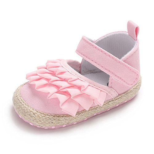 BENHERO Baby Sandals for Girls Bowknot Canvas Floral Mary Jane Flat Summer Shoes(11cm(0-8 Months),A-Pink) ()