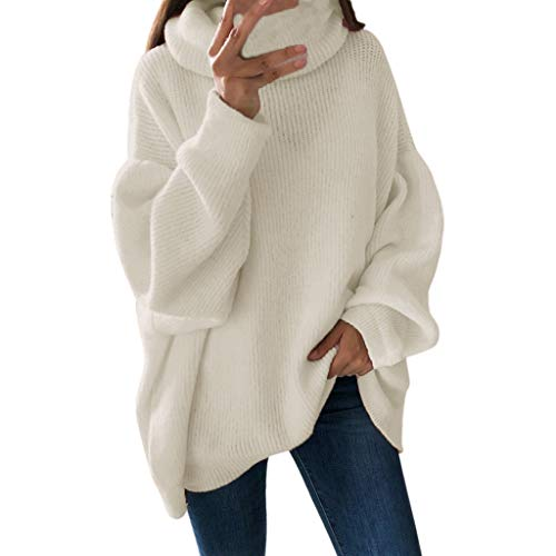 Rambling New Women's Loose Oversize Turtleneck Wool Long Pullover Sweater Dress White