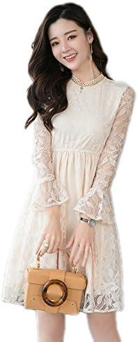 春の女性の服、中央セクションロングレースドレス、スタンドカラースピーカーウエストスリムベーススカート,アプリコット,XL DYY