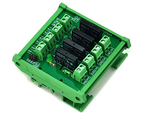 Electronics-Salon DIN Rail Mount DC24V 4 Channels DC-AC 2Amp G3MB-202P Solid State Relay SSR Module Board.