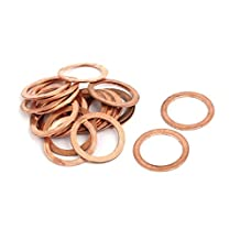 uxcell® 20pcs 18mmx24mmx1mm Copper Flat Ring Sealing Crush Washer Gasket