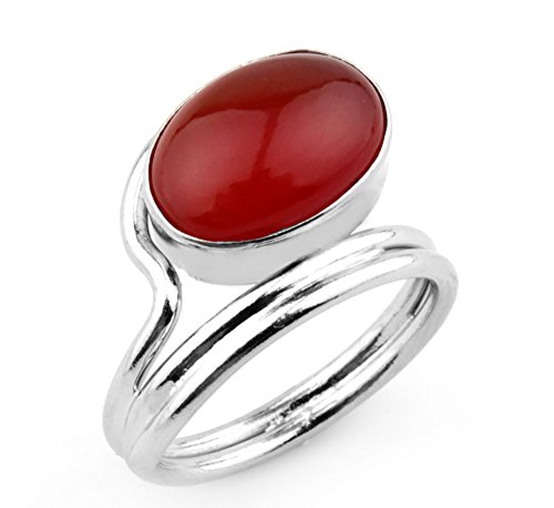 3.60 Ctw Genuine Carnelian .925 Silver Overlay Handmade Rings - Sizes 6 -12.5