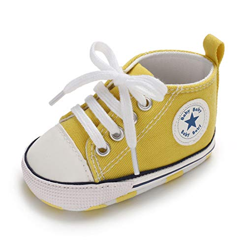 Tutoo Baby Boys Girls Shoes Canvas Toddler Sneaker Soft Anti Slip Sole Star High Top Ankle Infant First Walkers Crib Shoes for 3-18 Months Candy Colors Shoes Yellow]()