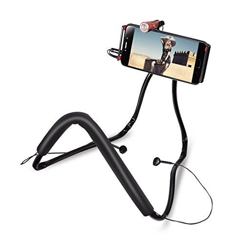 Dorhea Lazy Neck Phone Holder Flexible Cell Phone Stand Universal Mobile Holder Bed Desktop Car Stand Hanging on Neck Bracket 360 Degree Rotating with Microphone and Earphones for Video Recording