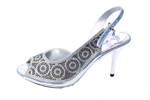 de Diamante del Noche 8 nupcial W tacón Zapatos banquete Sandalia Confort Damas de boda Mujer SAN2220 4 Plata Tamaño Desgaste W Uwt86Y