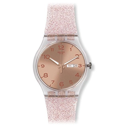 Swatch Unisex SUOK703 Pink Glistar Analog Display Quartz Pink Watch