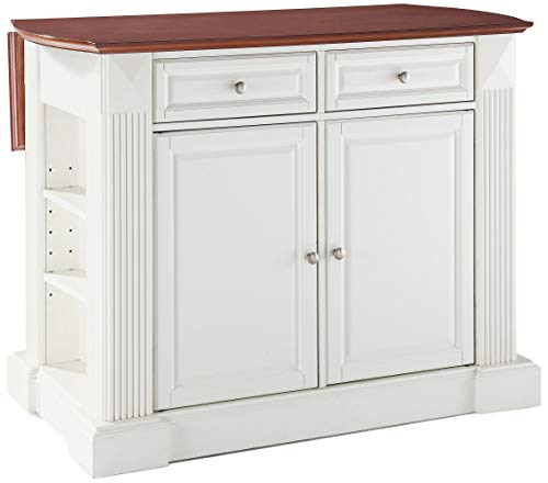Crosley Furniture KF30007WH Drop Leaf Kitchen Island Breakfast Bar, White