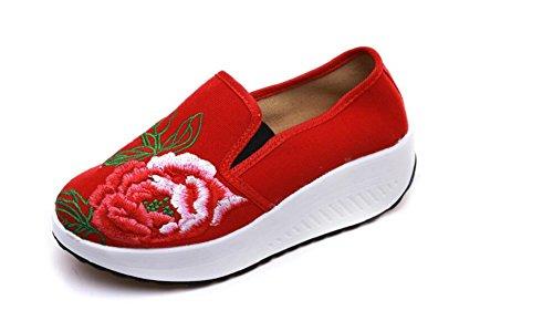 Voyage De Baskets Dame Chaussures De Femmes Marche Marche Style Chinois Casual Vintage Rouge Lazutom Mode Broderie qUFSxBxw