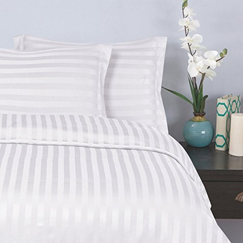 Damask Duvet Stripes Cover (Elegant Comfort 1500 Thread Count -DAMASK STRIPES- Egyptian Quality Luxurious Silky Soft WRINKLE & FADE RESISTANT 3pc Duvet Cover Set, King/Cal-King, White)