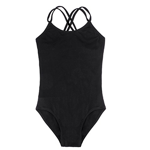 Arshiner Kids Girl's Double Strap Slim Solid Camisole Leotard (170(Age: 12-13Y), Black(FBA)) -