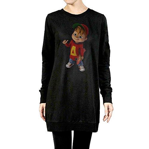 Newbee Cartoon AC Figure Womens Girls Long Sleeve Raglan Crewneck Tunic Sweatshirt Solid Top T-Shirts L