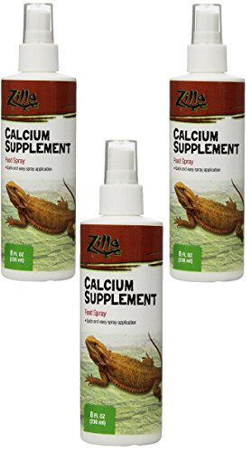 Zilla Reptile Health Supplies Calcium Supplement Food Spray, 8-Ounce (3 Pack) by Zilla