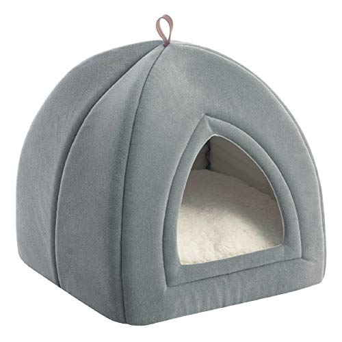 Bedsure Kitten Bed Cave Bed for Cats & Dogs- 15x15x15 inches 2-in-1 Kitty Bed/Cat Hut/Covered Cat Bed Caves with Removable Washable Cushioned Pillow, Indoor Pet Cat Dog Beds