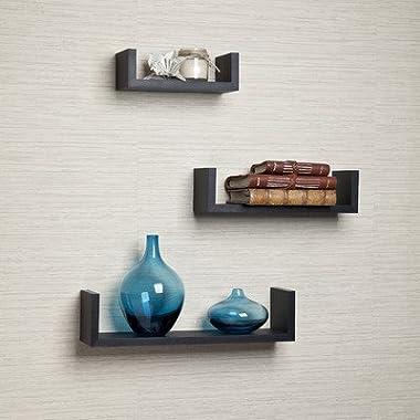 Danya B. Black Laminate Floating U Shelves (Set of 3 Pieces)