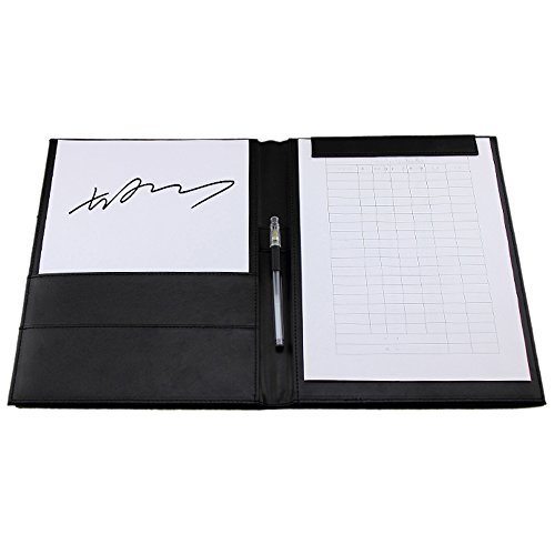 Boshiho Padfolio Clipboard Faux Leather Notepad Travel Portfolio Organizer with Inside Pocket (A4)