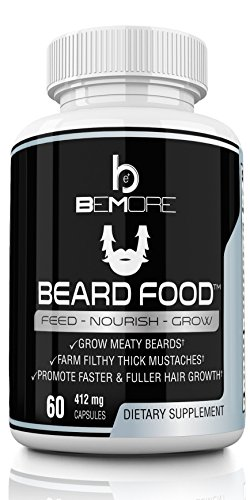 Beard Food   Facial Hair Supplement   Beard Growth Vitamin Pills - Grow Thicker Fuller Beards Faster with Proven Ingredients - Biotin (5000mcg!), MSM, NAC, PABA, Bamboo Extract + More!