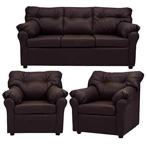 CasaStyle Emrado 3+1+1 Leatherette Sofa Set  Brown