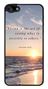 Vision Inspirational Motivational Quote Snap-On Cover Hard Plastic Case for iPhone 5/5S (Black)