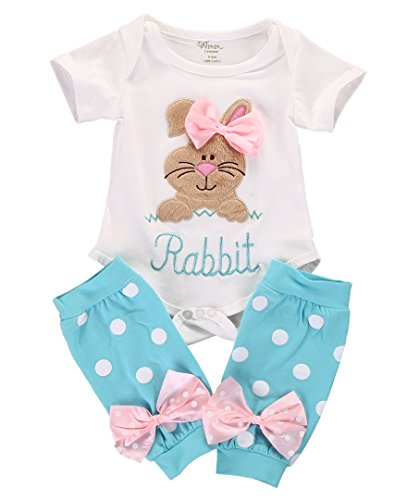 2Pcs/Set Newborn Infant Baby Girl Easter Outfit Bunny Romper+ Polka Dot Leg Warmers (White+Blue, 3-6 Months)