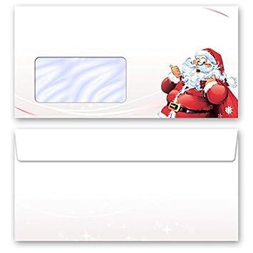 Sobres estampados navidad CARTA A PAPÁ NOEL, 50 sobres DL (110x220 mm) sobres con ventanas, autoadhesivo con cinta adhesiva