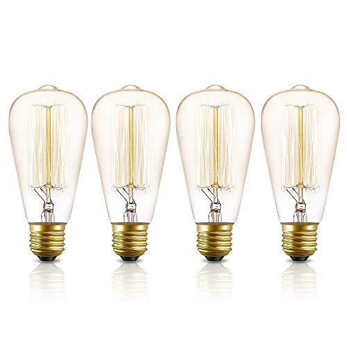 (Vintage Edison Light Bulbs 60W Kakanuo Dimmable ST64 Incandescent Bulb,E26 Base Squirrel Cage Filament Antique Lamp, Amber Warm Pack of 4)