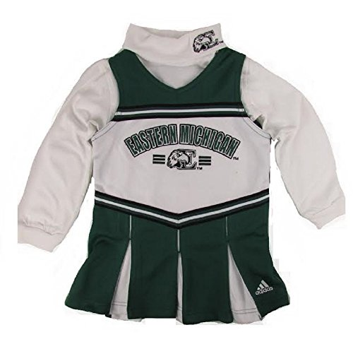 Eastern Michigan Eagles Little Girl's 2pc Turtleneck Cheerleader Jumper Dress (5/6)]()