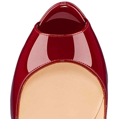 Arc-en-Ciel zapatos de plataforma de la mujer peep toe de tacón alto-burgundy-us14