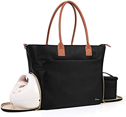 Teamoy Breast Pump Bag Compatible For Spectra S1 S2 Medela And Cooler Bag Breast Pump Storage Tote With Laptop Sleeve Up To 14 For Working Moms Black Ty10501 Amazon Ae