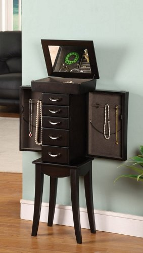 Nathan Direct Eiffel Tower 5 Drawer Jewelry Armoire with 2 Side Compartments and a Lift-Top Compartment with Mirror and Ring Holders, Black by Nathan Direct (Image #1)