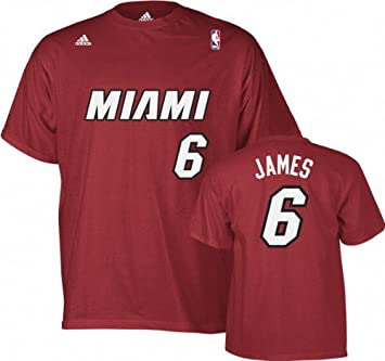Lebron James Miami Heat Adidas Red NBA Player T-shirt camisa: Amazon.es: Deportes y aire libre