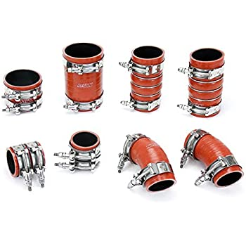 HPS 57-1672 Orange Silicone Intercooler Turbo Hose Boots Kit with T Bolt Clamps 1 Pack